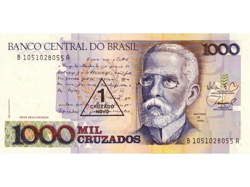 Billet Brésil 1 Cruzado Novo sur 1000 Cruzados 1989 P-216