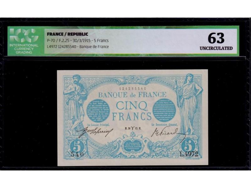 5 Francs Bleu 1915 F2.25