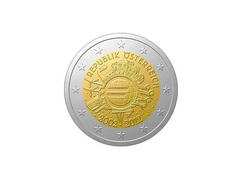 2 Euros commémorative Autriche 2012-10 ans de l'euro 2012