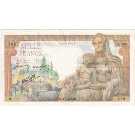 1000 Francs DÉESSE DÉMÉTER 1942 F40.2