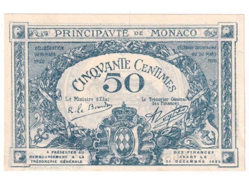 50 Centimes MONACO 1920 P.3a