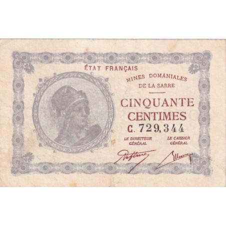 50 Centimes MINES DOMANIALES DE LA SARRE 1920 VF.50.03