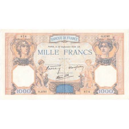 1000 Francs Cérès & Mercure France 1937 F.38.27