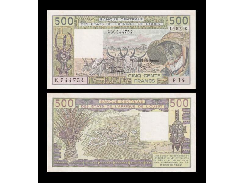 500 Francs ÉTATS DE L'AFRIQUE DE L'OUEST 1985 P.706Kh