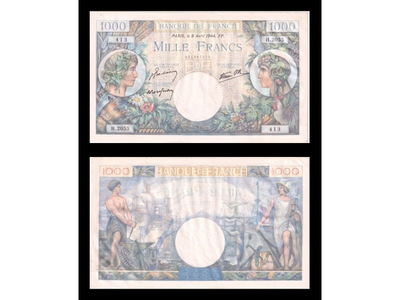1000 Francs Commerce & Industrie FRANCE 1944 F.39.5