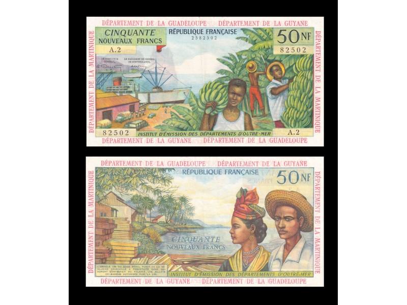 50 Nouveaux Francs ANTILLES FRANÇAISES 1962 P.6a