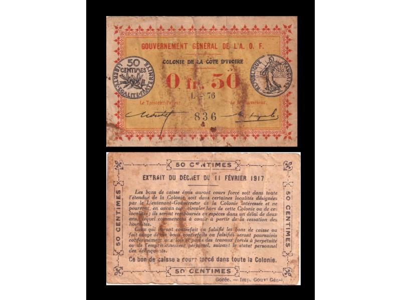 0,50 Franc COTE D'IVOIRE 1917 P.1b