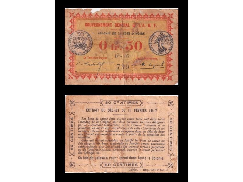 0,50 Franc COTE D'IVOIRE AOF 1917 P.1b
