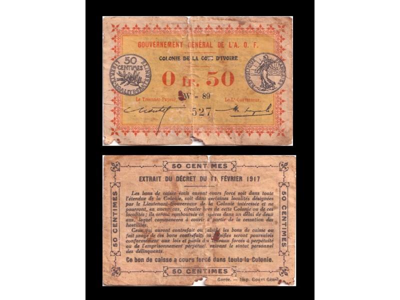 0,50 Franc COTE D'IVOIRE  ( AOF )1917...