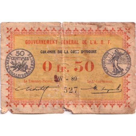50 Franc COTE D'IVOIRE AOF 1917 P.1b