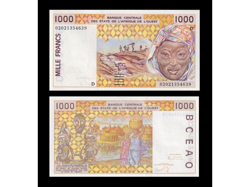 1000 Francs ÉTATS DE L'AFRIQUE DE L'OUEST 2002 P.311Cm
