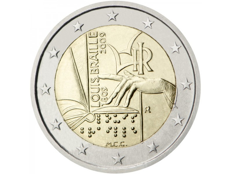 2 € Commémorative Italie 2009- Louis Braille