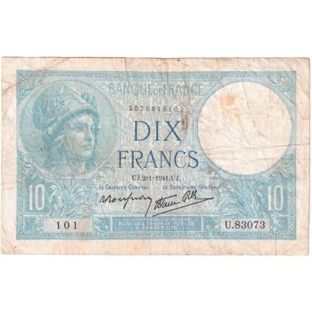 10 Francs Minerve FRANCE 1941 F.56.12