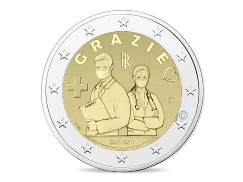 2 Euro ITALIE 2021 -GRAZIE, Merci aux...