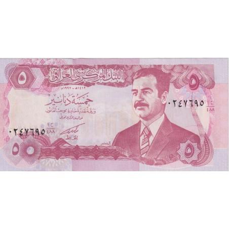 Irak 5 Dinars 1992 P. 80  Saddam Hussein