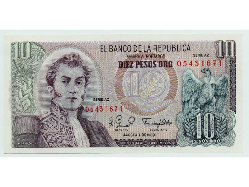 COLOMBIE billet 10 Pesos Oro 1980 P.407g